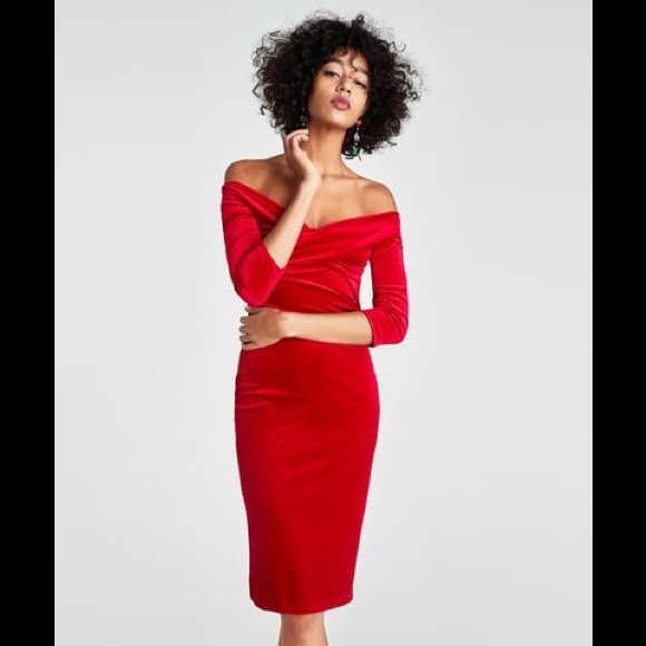 c7eab47e85f ZARA Red Velvet Tube Dress